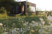 Veld met bloemetjes en een tiny house