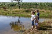 Kinderen bij het water bij het vakantiehuis