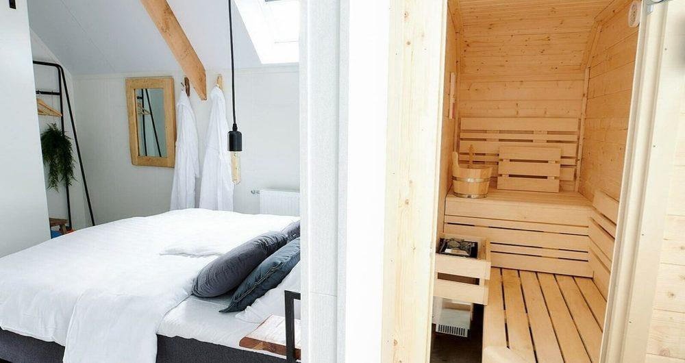 Slaapkamer met sauna in het vakantiehuis