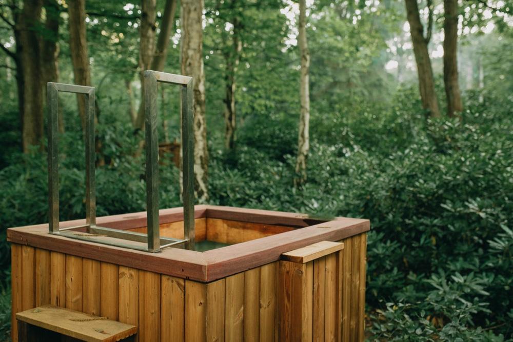 Plonsbak bij het vakantiehuis in het bos