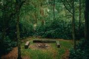 Tuin met vuurplaats in het bos bij het tiny house