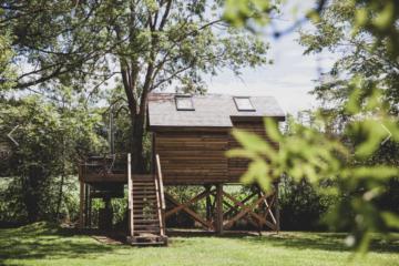 Boomhut in het groen in de Belgische Ardennen