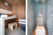 Sauna en spoeldouche in het luxe vakantiehuis op Texel